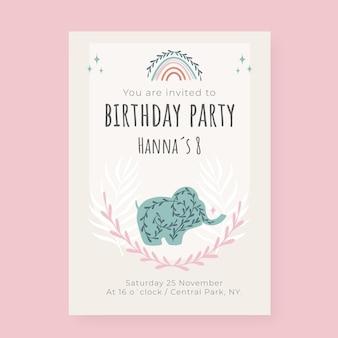 손으로 그린 boho 생일 포스터 템플릿