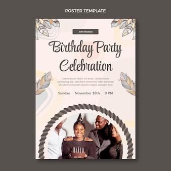 Hand drawn boho birthday poster