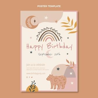 손으로 그린 보헤미안 생일 포스터