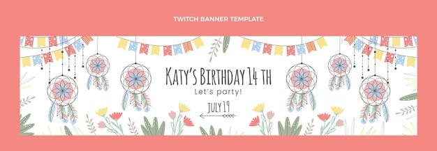 Hand drawn boho birthday twitch banner