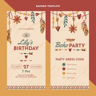 Hand drawn boho birthday vertical banners