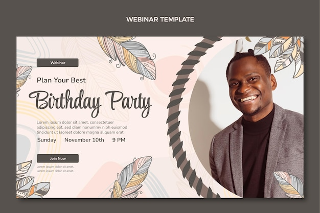 Hand drawn boho birthday webinar