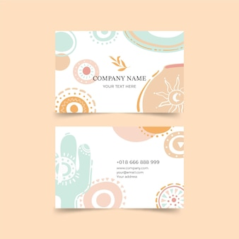 Hand drawn boho business card template