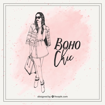 Hand drawn boho chic fashion girl
