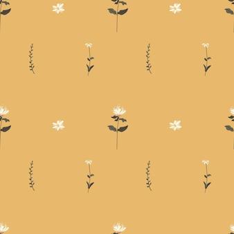 Hand drawn boho colorful feminine minimalist botanical doodle seamless pattern