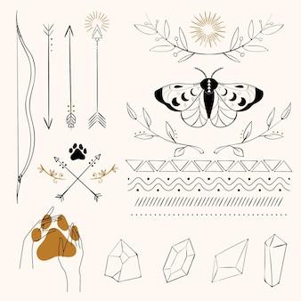 Collezione di elementi boho disegnati a mano
