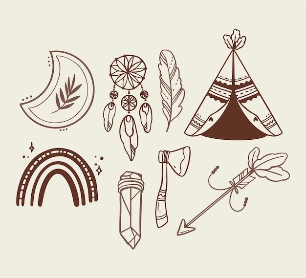 Pacchetto di elementi boho disegnati a mano