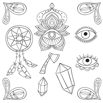 Hand drawn boho elements collection