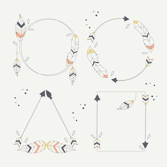 Set di cornici boho disegnato a mano