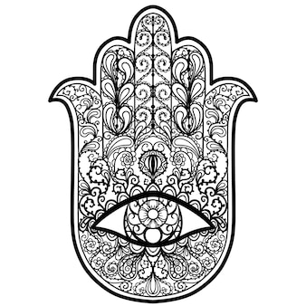 Hand drawn boho hamsa hand, protection amulet of strength and happiness.