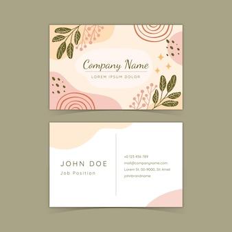 Hand drawn boho horizontal business card template