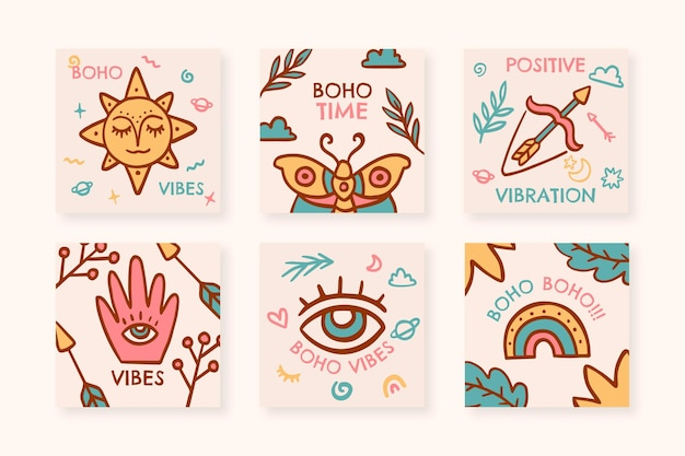 Hand drawn boho instagram posts collection