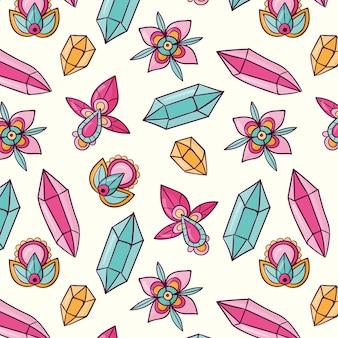 손으로 그린 boho 패턴 디자인