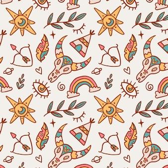 Hand drawn boho pattern design