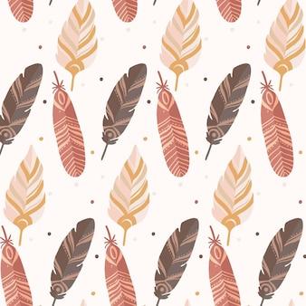 깃털으로 손으로 그린 boho 패턴
