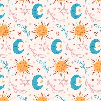 태양과 달이 있는 손으로 그린 boho 패턴