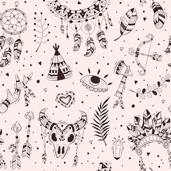 손으로 그린 boho 패턴