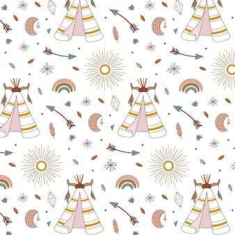 Hand drawn boho pattern