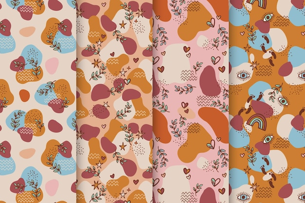 Hand drawn boho patterns collection