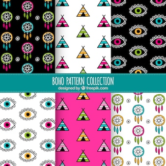Hand-drawn boho patterns with colored elements
