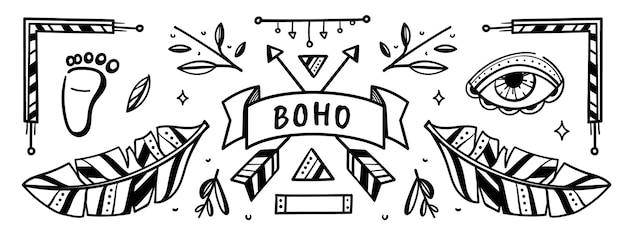 Hand drawn boho social media cover template