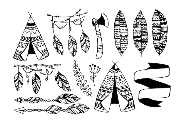 Hand drawn boho style element collection