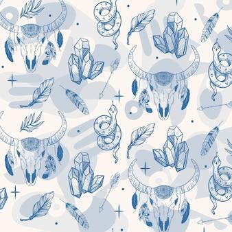 손으로 그린 boho 스타일 패턴