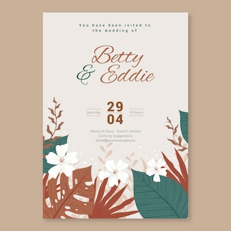 Hand drawn boho style wedding invitation template