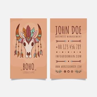 Hand drawn boho vertical business card template