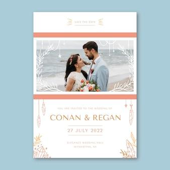 写真と手描きの自由奔放に生きる結婚式の招待状のテンプレート