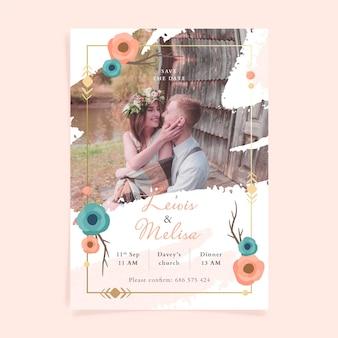 Hand drawn boho wedding invitation template with photo