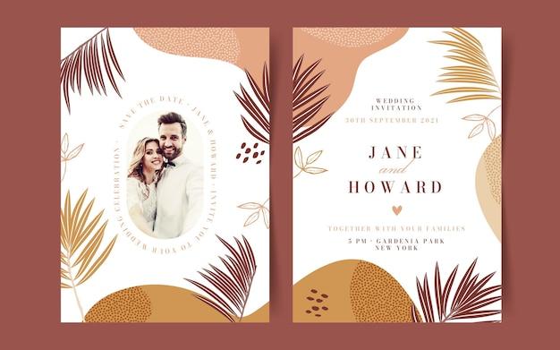 Modello di invito a nozze boho disegnato a mano con foto