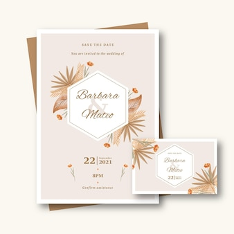 Hand drawn boho wedding invitation template