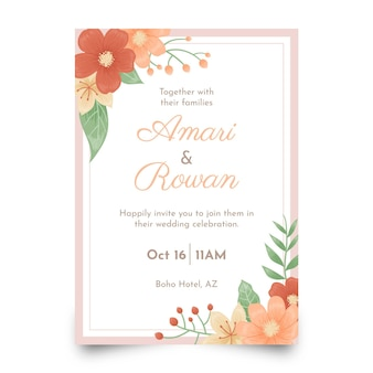 Шаблон приглашения на свадьбу в стиле бохо