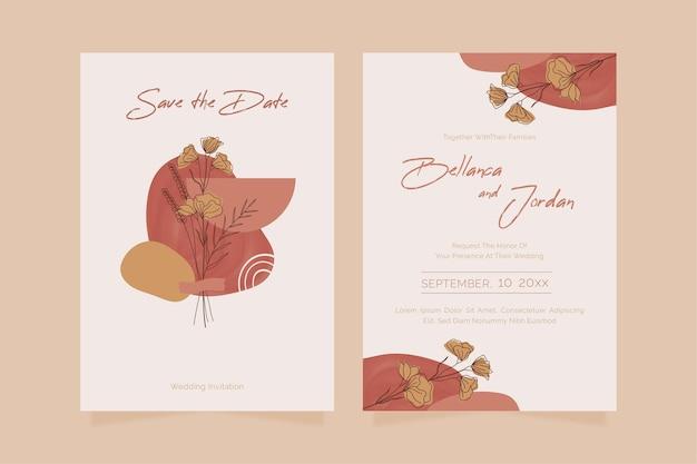 Ручной обращается шаблон свадебного приглашения в стиле бохо