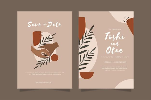 손으로 그린 된 boho 결혼식 초대장 서식 파일