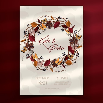 手描きの自由奔放に生きる結婚式の招待状のテンプレート