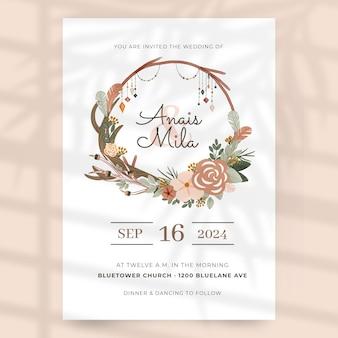Hand drawn boho wedding invitation template