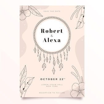 Hand drawn boho wedding invitation