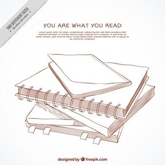 손으로 그린 인용 책 배경