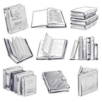 손으로 그린 된 책입니다. 흑백 노트북을 조각하는 레트로 스케치. 도서관과 서점 요소, 오래 된 책 더미 세트