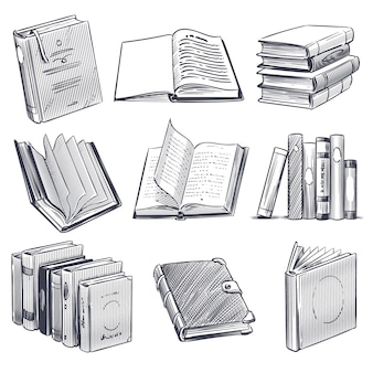 Hand drawn book. retro sketch engraving monochrome notebooks. library and bookstore elements, pile of old books  set