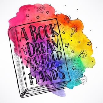 水彩画の背景に表紙に引用符で描かれた手描きの本