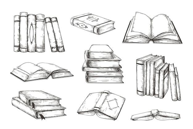 Нарисованная рукой иллюстрация книг