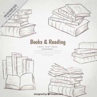 Hand drawn books set