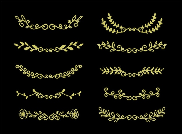 Hand drawn borders elements set collection, floral gold ornament vector
