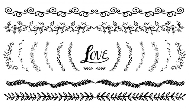 Hand drawn borders elements set collection, floral ornament vector