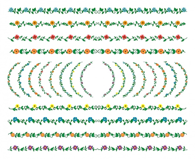 Hand drawn borders elements set collection, floral swirl ornament vector
