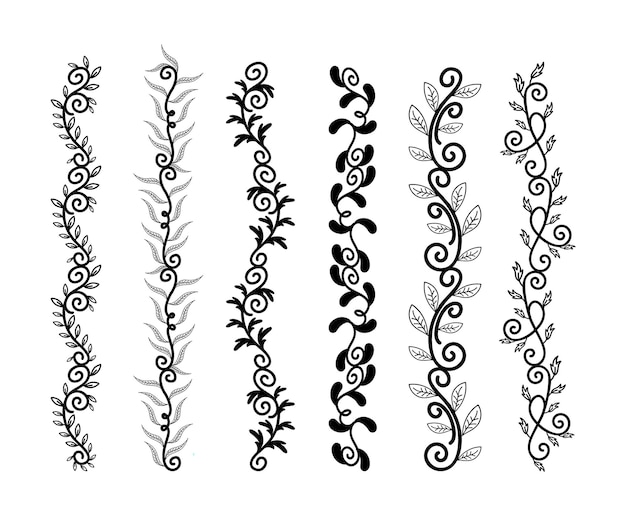 Hand drawn borders elements set collection floral swirl ornament vector