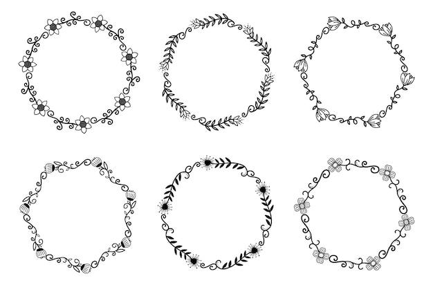 Рисованной границы элементы наборы коллекции цветочный вихрем орнамент вектор